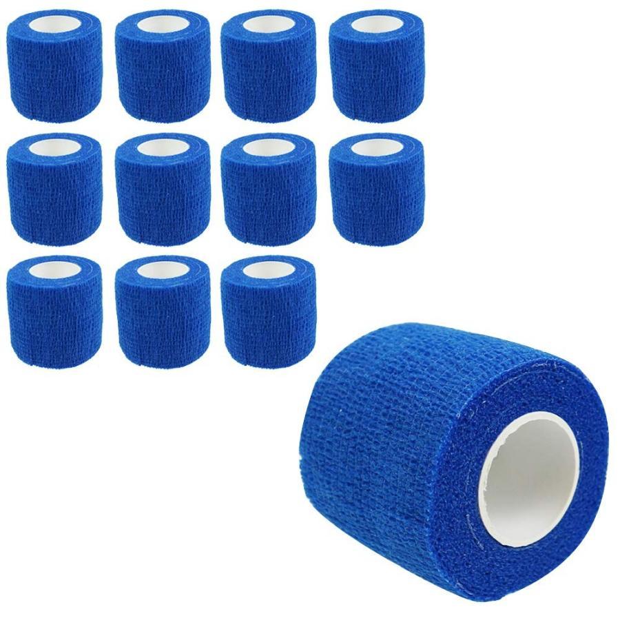 自己粘着性 伸縮包帯 弾性包帯 5cm x 4.5m テーピング 蒸れにくい 手で切れる ブルー 青 12巻セット|avekt