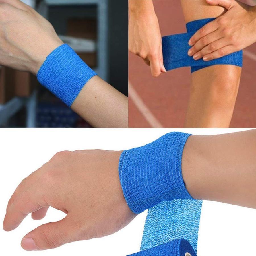 自己粘着性 伸縮包帯 弾性包帯 5cm x 4.5m テーピング 蒸れにくい 手で切れる ブルー 青 12巻セット|avekt|05