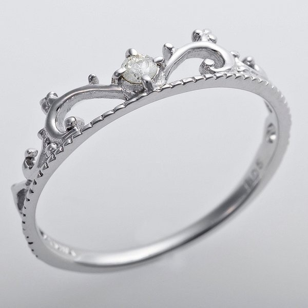 【送料無料(一部地域を除く)】 K10ホワイトゴールド 天然ダイヤリング 指輪 ダイヤ0.05ct 10号 アンティーク調 プリンセス ティアラモチーフ, 勝浦市 2ad75bec