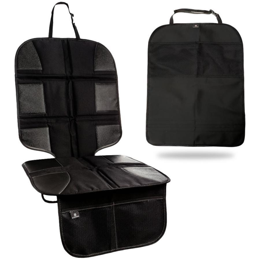 チャイルドシート 保護マット 新作入荷!! キックガード シートバックカバー シートベルト固定両対応 収納ポケット付 ISOFIX SEAL限定商品
