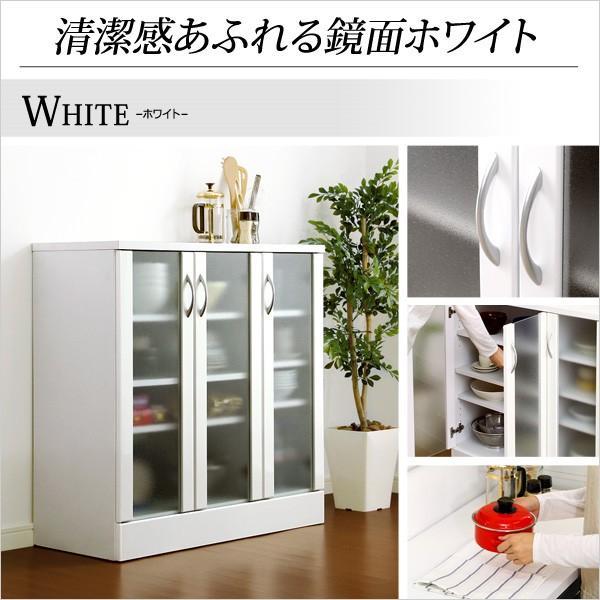ホワイト鏡面仕上げのキッチンキャビネット -NewMilano-ニューミラノ (90cm×90cmサイズ) axisnet 03