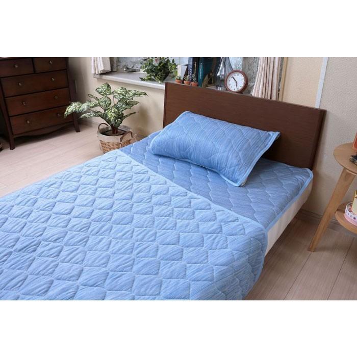 即納 COLD YARN 接触冷感寝具3点セット (敷きパッド、枕パッド、キルトケット)|az-shop|07