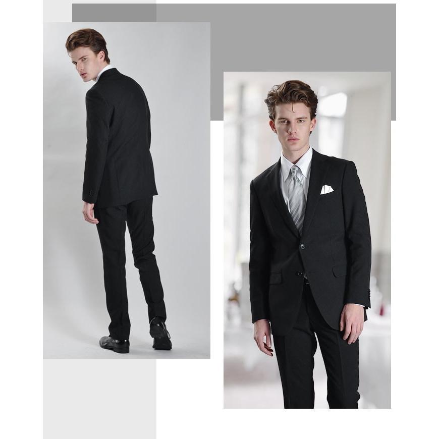 フォーマルスーツ 礼服 メンズ 2つボタン ブラックフォーマル アジャスター付 大きいサイズ スーツハンガー付属|azdeux|05