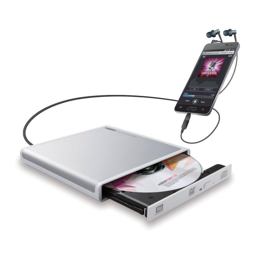 ロジテック CDドライブ スマホ タブレット向け 音楽CD取り込み USB2.0 Type-C変換アダプタ付 ホワイト LDR-PMJ8U2RWH|azsys
