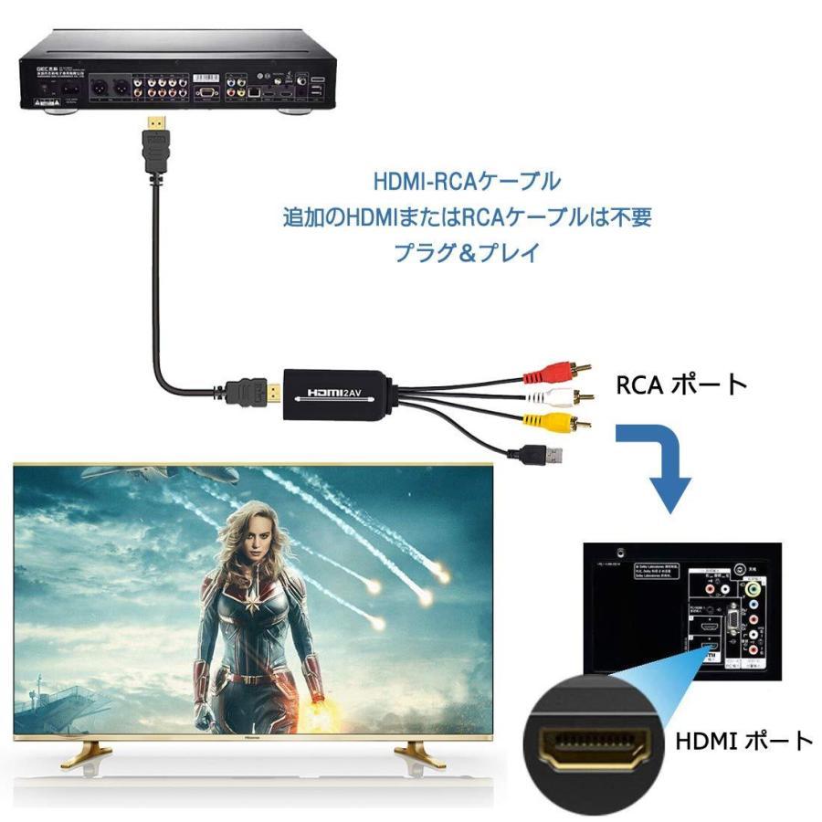 HDMI to RCA変換ケーブル HDMI to AVコンバータデジタル 3RCA/AV 変換ケーブル Apple TV/HDTV/Xbox/PC/DVD/ラップトップ/Blu-ray プレイヤー/PAL/NTSCテレビ/TV azsys 05