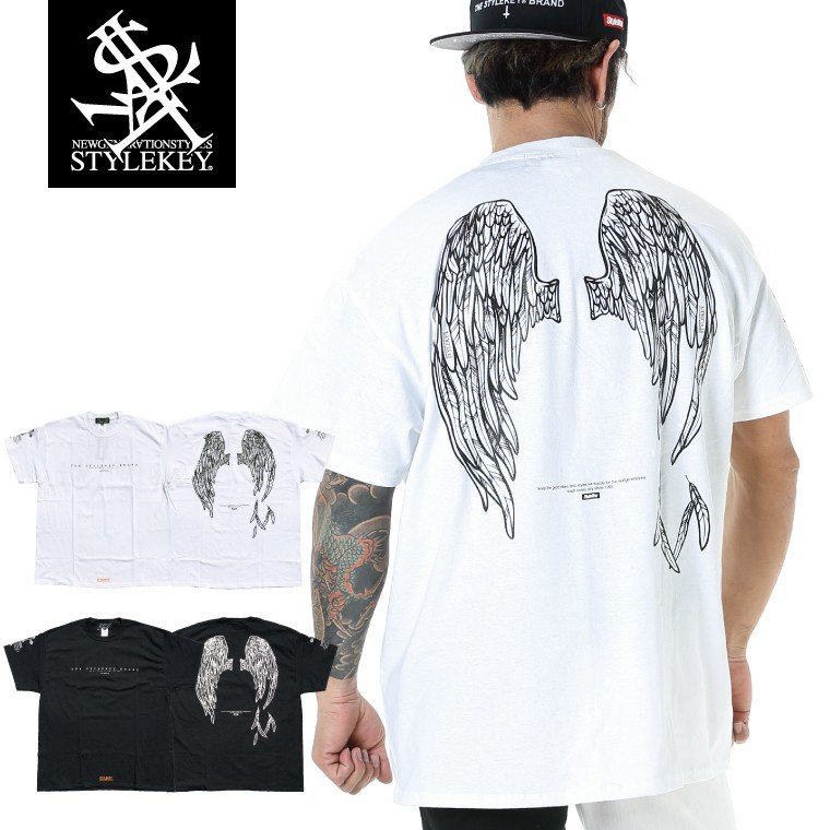 STYLEKEY スタイルキー 半袖Tシャツ FALLEN ANGEL S/S TEE(SK20SP-SS10) ストリートファッション ヒップホップ レゲエ B系 堕天使の羽 ロゴ 大きいサイズ b-bros
