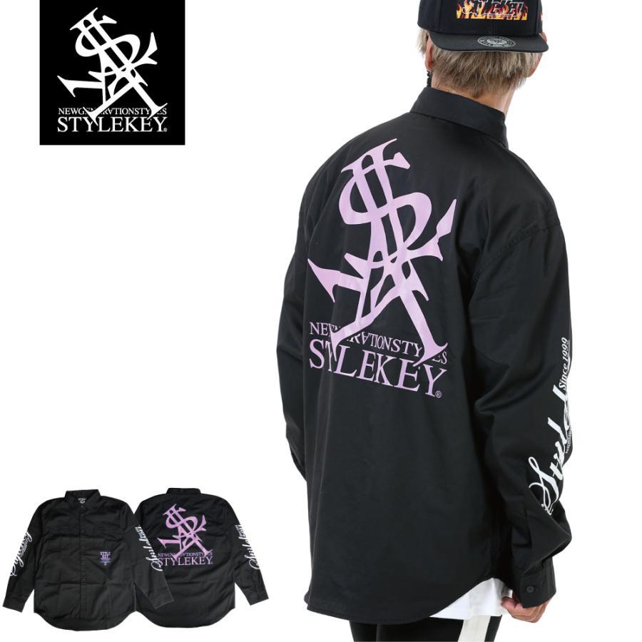 STYLEKEY スタイルキー 長袖ワークシャツ NEON ROYAL L/S WORK SHIRT (SK21FW-BL01) ストリートファッション ヒップホップ B系 ロゴ ブラウス 大きいサイズ b-bros