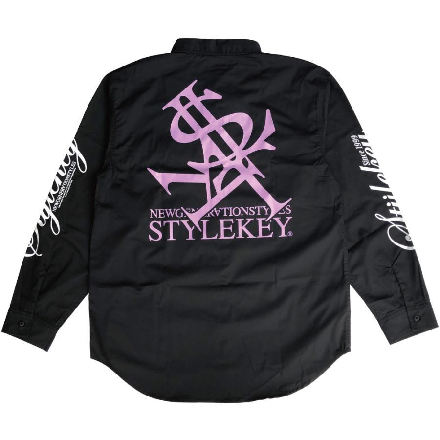 STYLEKEY スタイルキー 長袖ワークシャツ NEON ROYAL L/S WORK SHIRT (SK21FW-BL01) ストリートファッション ヒップホップ B系 ロゴ ブラウス 大きいサイズ b-bros 04