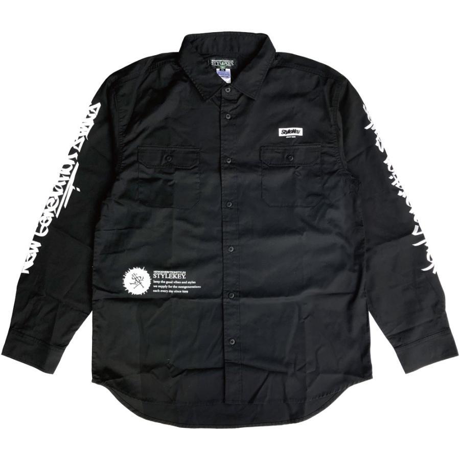 STYLEKEY スタイルキー 長袖ワークシャツ SCRIBBLE L/S WORK SHIRT (SK21FW-BL02) ストリートファッション ヒップホップ B系 タギング ブラウス 大きいサイズ|b-bros|03
