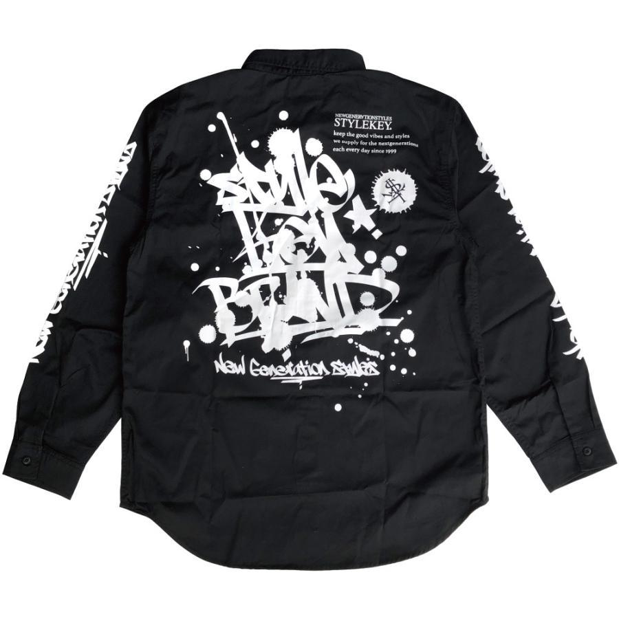 STYLEKEY スタイルキー 長袖ワークシャツ SCRIBBLE L/S WORK SHIRT (SK21FW-BL02) ストリートファッション ヒップホップ B系 タギング ブラウス 大きいサイズ|b-bros|04