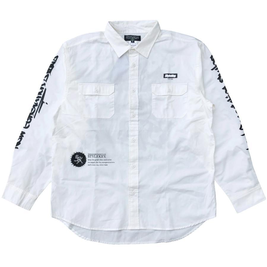STYLEKEY スタイルキー 長袖ワークシャツ SCRIBBLE L/S WORK SHIRT (SK21FW-BL02) ストリートファッション ヒップホップ B系 タギング ブラウス 大きいサイズ|b-bros|05