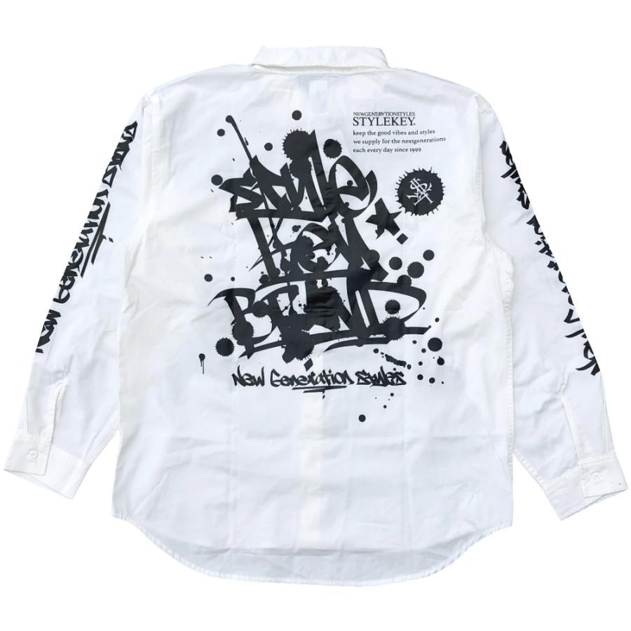 STYLEKEY スタイルキー 長袖ワークシャツ SCRIBBLE L/S WORK SHIRT (SK21FW-BL02) ストリートファッション ヒップホップ B系 タギング ブラウス 大きいサイズ|b-bros|06