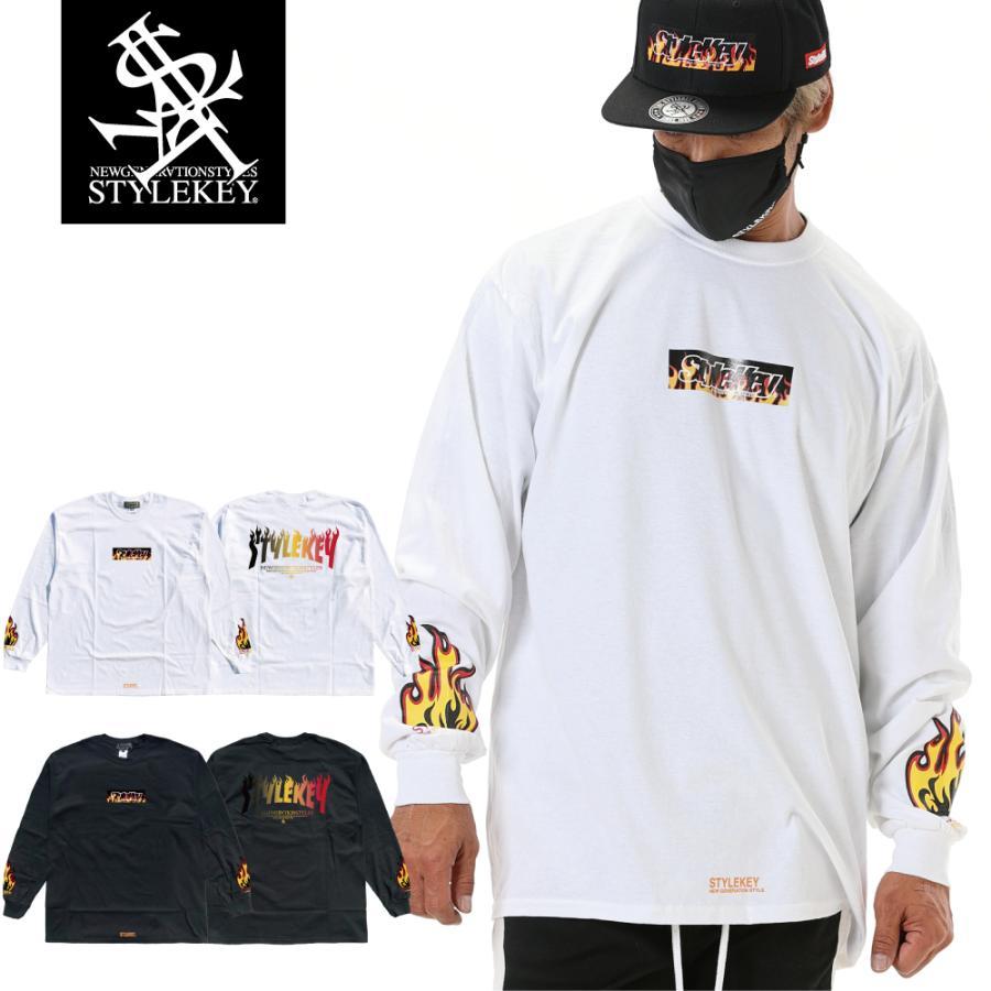 STYLEKEY(スタイルキー) 長袖Tシャツ FIRE BOX L/S TEE(SK21FW-LS05) ロングスリーブTシャツ ストリート ヒップホップ レゲエ B系 ボックス ロゴ 大きいサイズ|b-bros