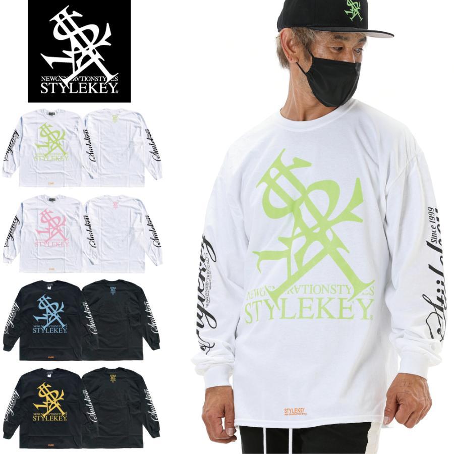 STYLEKEY(スタイルキー) 長袖Tシャツ NEON ROYAL L/S TEE(SK21FW-LS07) ロングスリーブTシャツ ストリート ヒップホップ レゲエ B系 ロイヤル ロゴ 大きいサイズ|b-bros