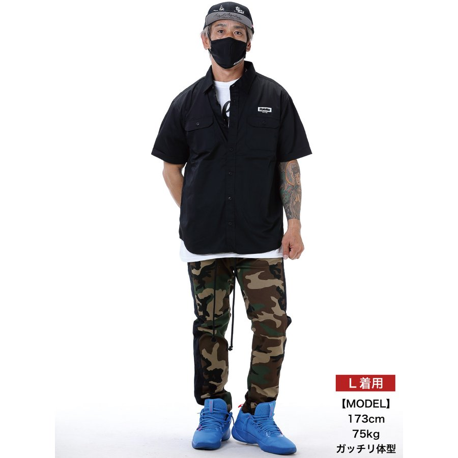 STYLEKEY スタイルキー 半袖ワークシャツ  SCALE S/S WORK SHIRT(SK21SP-BL01) ストリート系 ヒップホップ レゲエ バンド B系 ロゴ ブラウス 大きいサイズ|b-bros|02