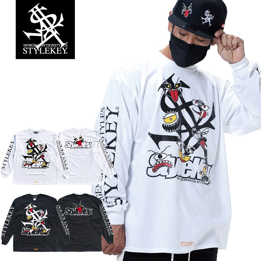 STYLEKEY(スタイルキー) 長袖Tシャツ MONSTER HOUSE L/S TEE(SK21SP-LS06)  ストリート ヒップホップ レゲエ B系 ロゴ モンスター イラスト キャラ 大きいサイズ|b-bros