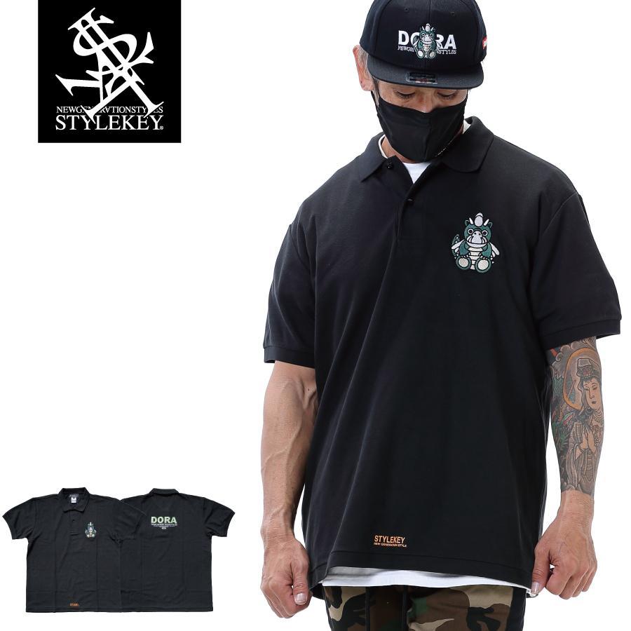 STYLEKEY スタイルキー ポロシャツ DORA-CHAN 鹿の子 S/S POLO(SK21SP-PL01) ストリートファッション B系 ヒップホップ レゲエ キャラクター 刺繍 大きいサイズ b-bros