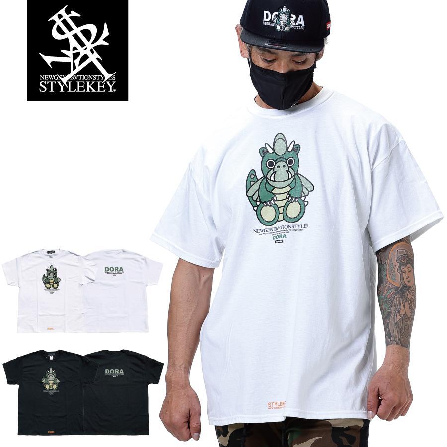 STYLEKEY スタイルキー 半袖Tシャツ DORA-CHAN S/S TEE(SK21SP-SS05) ストリート系 ヒップホップ レゲエ B系 ドラゴン キャラクター 大きいサイズ b-bros