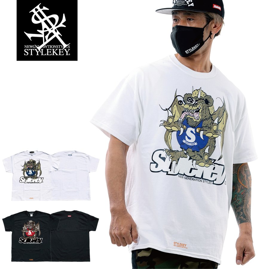 STYLEKEY スタイルキー 半袖Tシャツ ZOMBIE DRAGON S/S TEE(SK21SU-SS07) ストリート系 ゾンビ ドラゴン キャラクター 大きいサイズ|b-bros