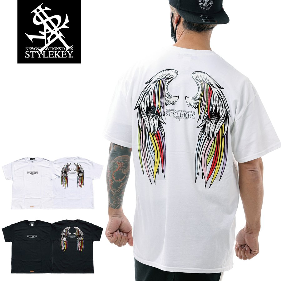 STYLEKEY スタイルキー 半袖Tシャツ SERAPH S/S TEE(SK21SU-SS10) ストリート系 B系 レゲエ ロック 熾天使の羽 ロゴ バンド 大きいサイズ|b-bros