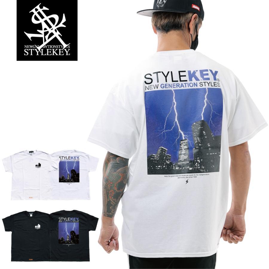 STYLEKEY スタイルキー 半袖Tシャツ THUNDERBOLT S/S TEE(SK21SU-SS12) ストリート系 B系 ロック フォト 稲妻 雷 ビル街 ロゴ バンド 大きいサイズ|b-bros