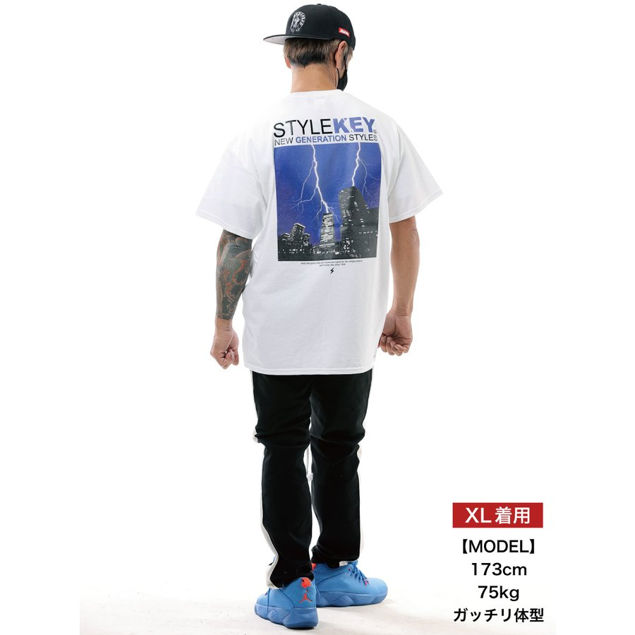 STYLEKEY スタイルキー 半袖Tシャツ THUNDERBOLT S/S TEE(SK21SU-SS12) ストリート系 B系 ロック フォト 稲妻 雷 ビル街 ロゴ バンド 大きいサイズ|b-bros|02