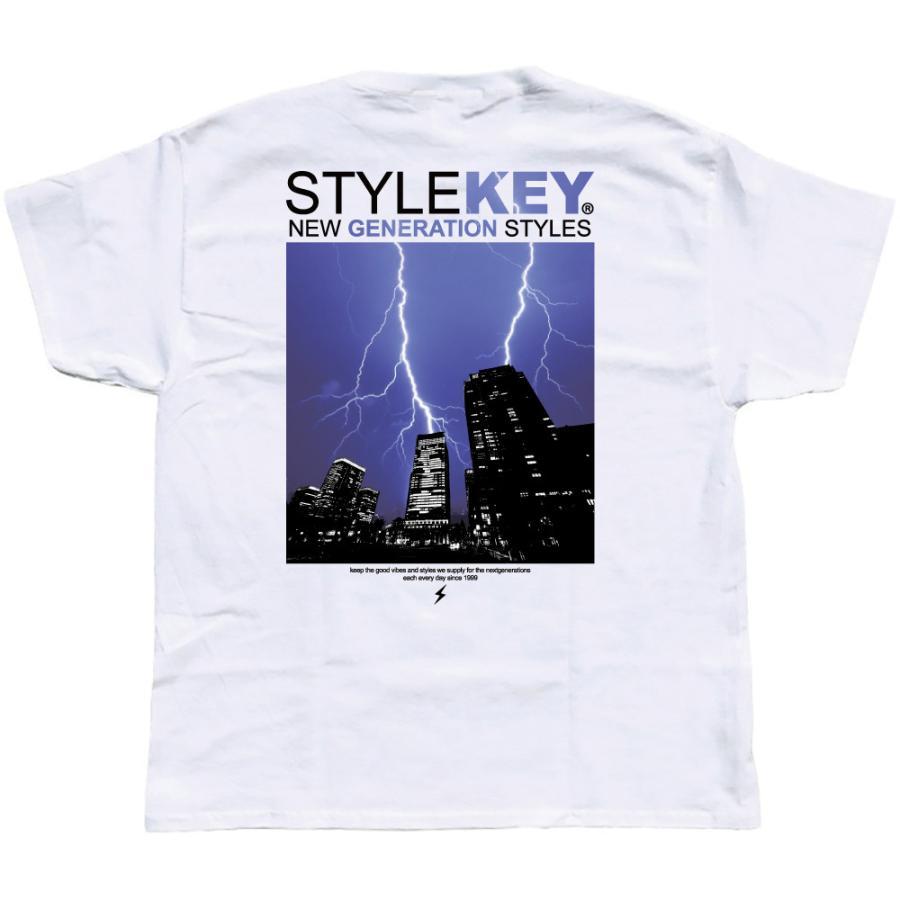 STYLEKEY スタイルキー 半袖Tシャツ THUNDERBOLT S/S TEE(SK21SU-SS12) ストリート系 B系 ロック フォト 稲妻 雷 ビル街 ロゴ バンド 大きいサイズ|b-bros|04