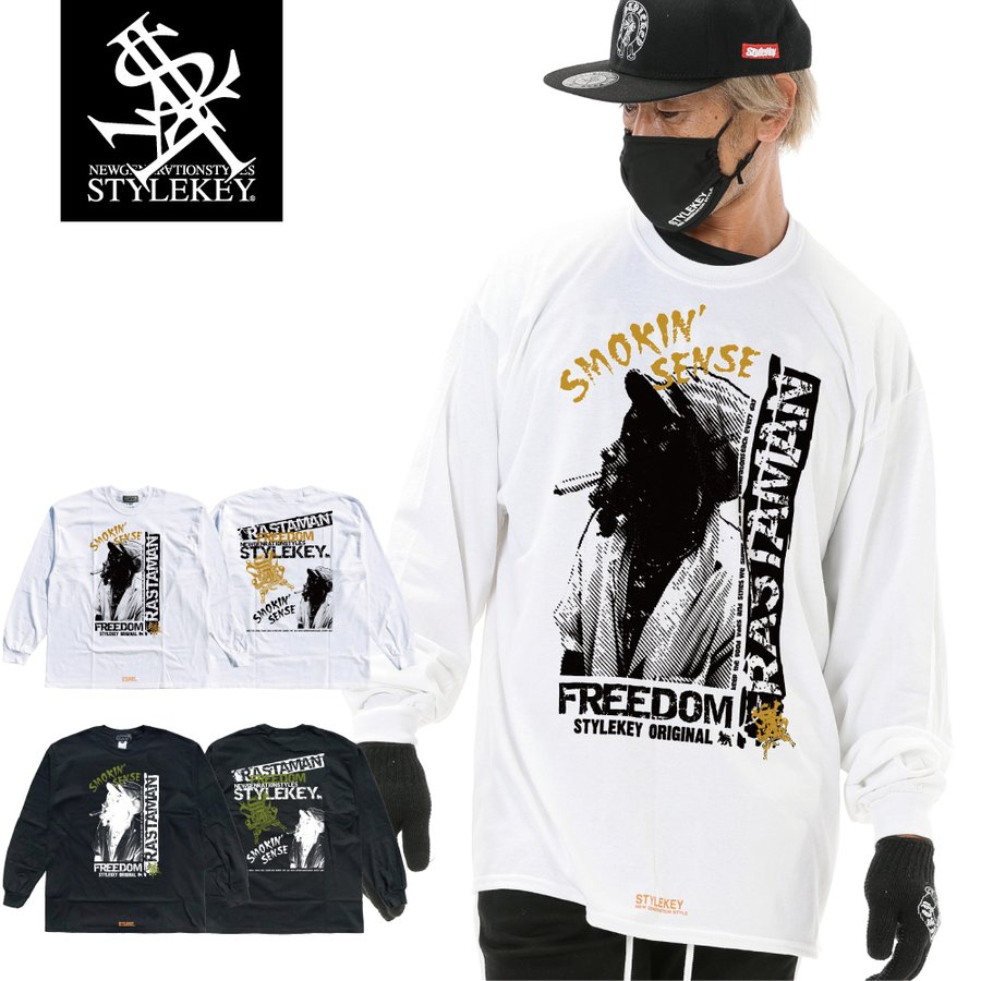 STYLEKEY CLASSIC LABEL(スタイルキー クラシック・レーベル) 長袖Tシャツ RASTAMAN L/S TEE(SK99CL-LS12) ロンT ストリート ヒップホップ 大きいサイズ|b-bros