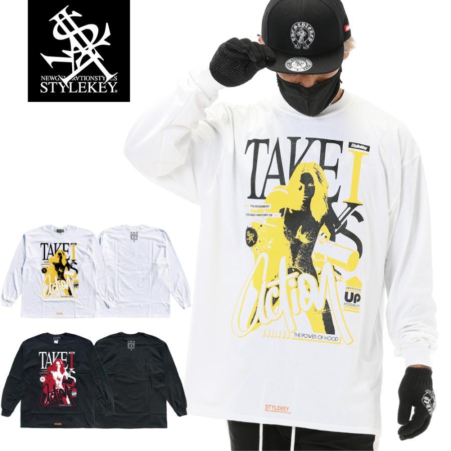 STYLEKEY CLASSIC LABEL(スタイルキー クラシック・レーベル) 長袖Tシャツ ACTION L/S TEE(SK99CL-LS14) ロンT ストリート ヒップホップ 大きいサイズ|b-bros