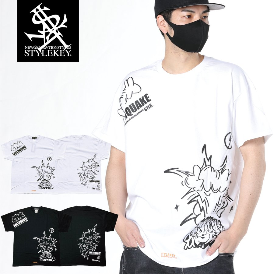 STYLEKEY CLASSIC LABEL スタイルキー クラシック・レーベル 半袖Tシャツ EARTHQUAKE S/S TEE(SK99CL-SS07) ストリート ヒップホップ レゲエ B系 大きいサイズ b-bros