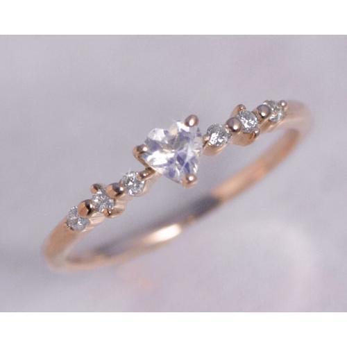 予約販売 ムーンストーン ダイヤ ハート リング 指輪 K10ピンクゴールド 6月誕生石, ARUNE 仮装雑貨のお店あるね c688b14e