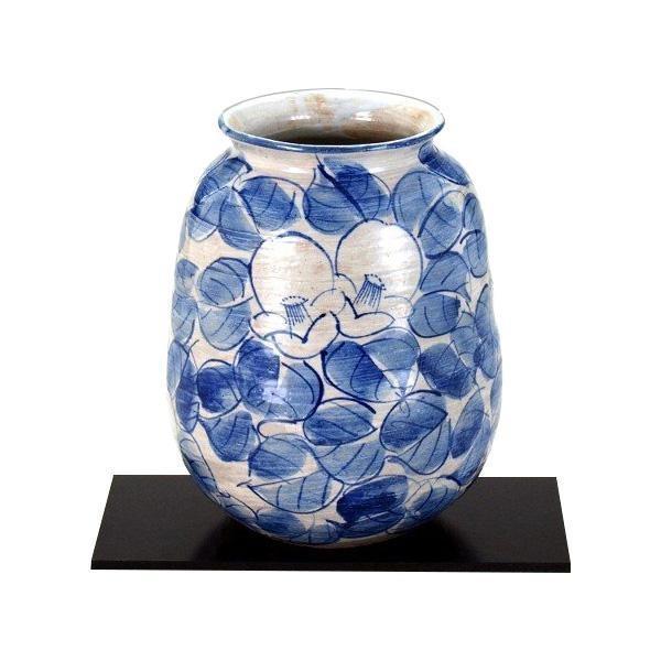 九谷焼 九谷和窯 7号花瓶 染付椿 N169-04