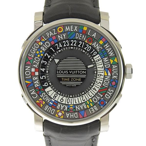 堅実な究極の B楽市本店 グレー文字盤 本物 美品 オートマ Louis Vuitton ルイ ヴィトン エスカル タイムゾーン メンズ オートマ 腕時計 グレー文字盤 Q5D200 時計 美品, ミラクルShop:212ec97b --- airmodconsu.dominiotemporario.com