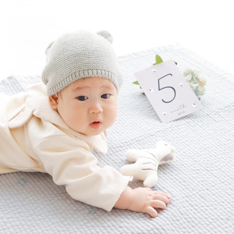 出産祝い 月齢フォト ナチュラル レモン柄 100日 昼寝アート ハーフバースデー SNS ・KUS(クシュ) ベビーマンスリーカード・ baby-arte 05