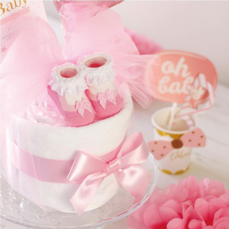 出産祝い おむつケーキ ミキハウス 女の子 プチギフト おしゃれ 可愛い 日本製 イニシャル ・ミキハウス靴下付きおむつケーキ・|baby-arte|03