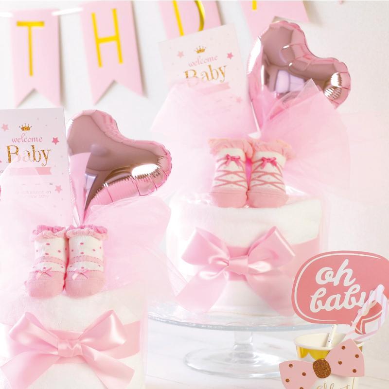 出産祝い おむつケーキ ミキハウス 女の子 プチギフト おしゃれ 可愛い 日本製 イニシャル ・ミキハウス靴下付きおむつケーキ・|baby-arte|04