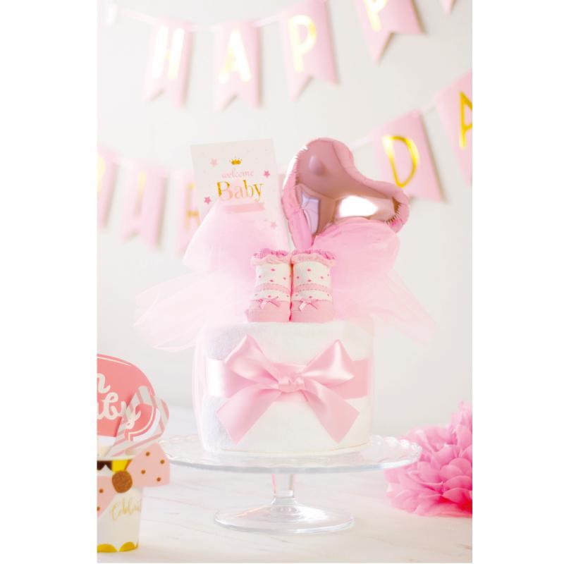 出産祝い おむつケーキ ミキハウス 女の子 プチギフト おしゃれ 可愛い 日本製 イニシャル ・ミキハウス靴下付きおむつケーキ・|baby-arte|05