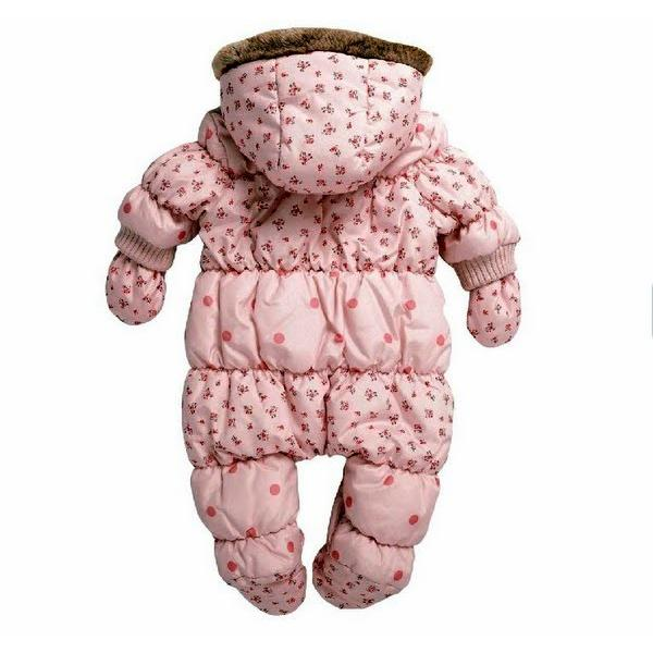 5a26100b62e19 ... ベビー子供服女の子用スノーウェア 防寒 アウター オールインワンロンパースヨーロッパ直輸入 ベビー