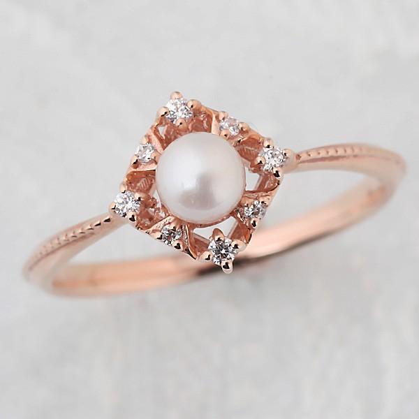 【楽天最安値に挑戦】 10金パール(真珠)&ダイヤモンドリング リング 指輪 レディース ジュエリー K10 WG/PG/YG, LuLu Couture ca3dbdeb