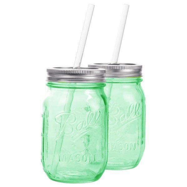 タンブラー メイソンジャー レッドネック ストロー付き 2個セット ドリンクボトル Ball Mason jars REDNEK Sippers Glass グリーン|back
