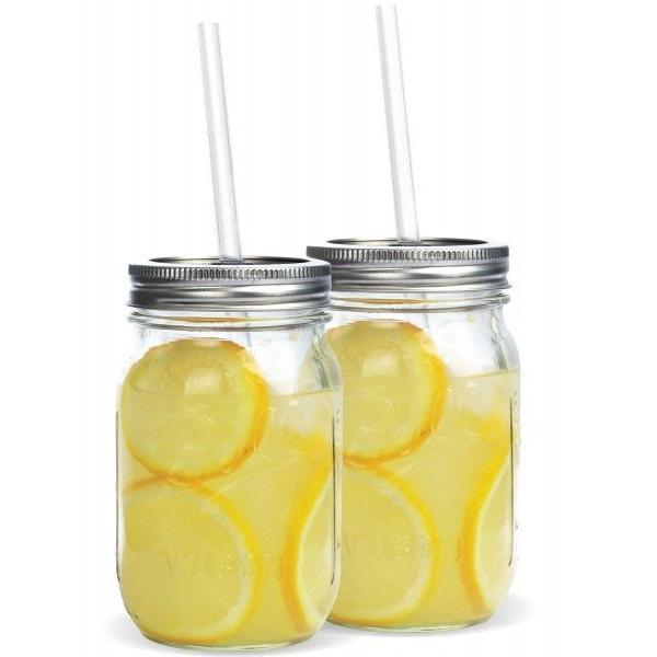 タンブラー メイソンジャー レッドネック ストロー付き 2個セット ドリンクボトル Ball Mason jars REDNEK Sippers Glass グリーン|back|02