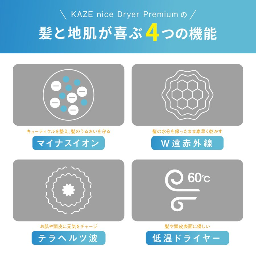 KAZE nice Dryer Premium Dr.Beau ドライヤー ナノケア  速乾 ドライヤースタンド付き|bakaure-onlineshop|03