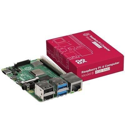 Element 14 Raspberry Pi 4 Model B 4GB RAM Motherboard Power Cord Case