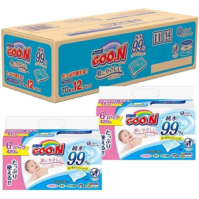 おしりふき 詰替用 グーン 肌にやさしいおしりふき タップリッチ 840枚 70枚×12個 ケース販売|bakuyasuearth