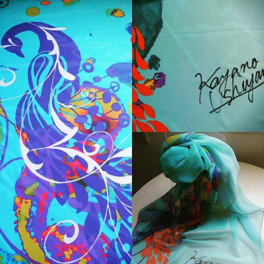 KAYANO USHIYAMA Ballettコラボ商品 Dream Peacock 大判シフォンスカーフ 正方形 90×90cm ご家庭で洗濯可 日本製|ballett|06