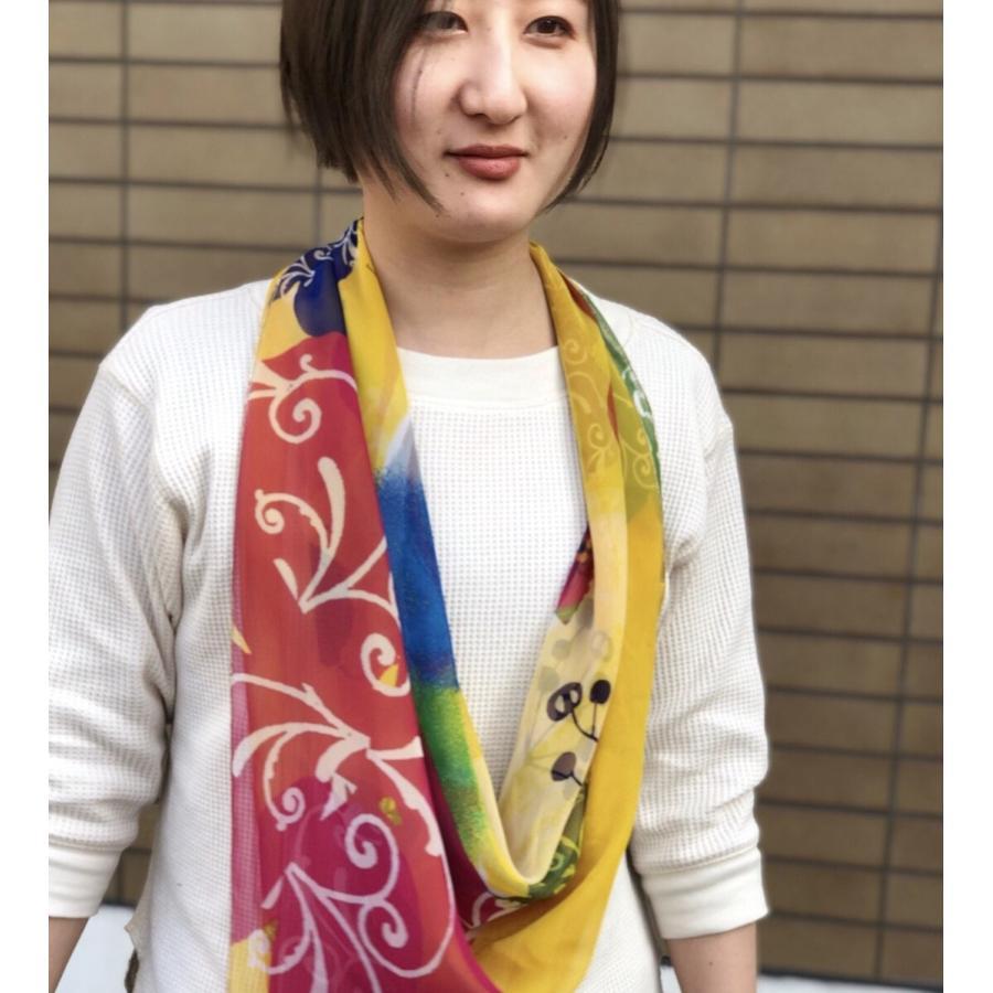 KAYANO USHIYAMA Ballettコラボ第3弾 Easter 大判シフォンスカーフ 正方形 90×90cm ご家庭で洗濯可 日本製|ballett