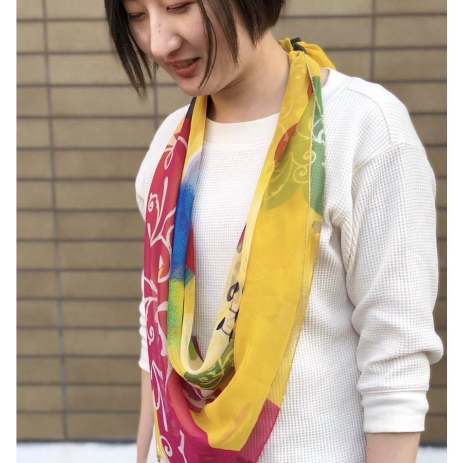 KAYANO USHIYAMA Ballettコラボ第3弾 Easter 大判シフォンスカーフ 正方形 90×90cm ご家庭で洗濯可 日本製|ballett|02
