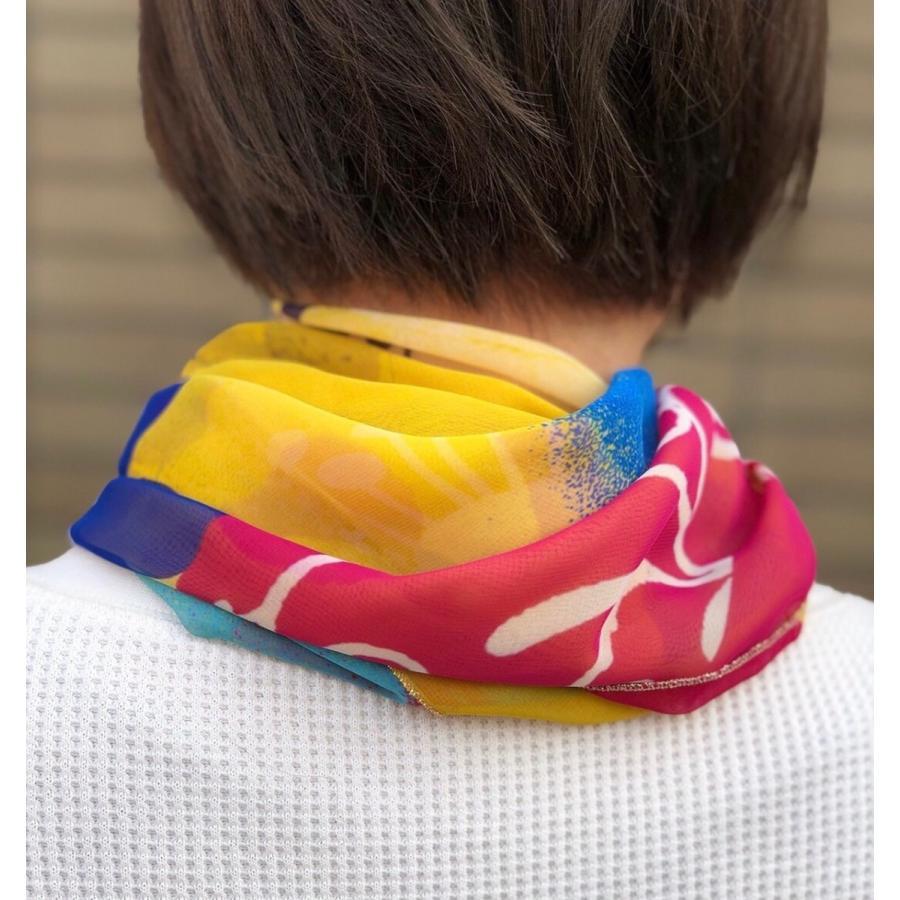 KAYANO USHIYAMA Ballettコラボ第3弾 Easter 大判シフォンスカーフ 正方形 90×90cm ご家庭で洗濯可 日本製|ballett|04