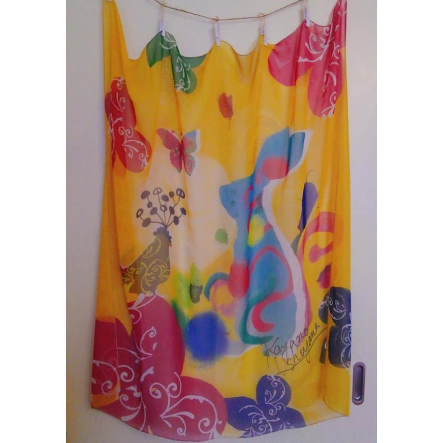 KAYANO USHIYAMA Ballettコラボ第3弾 Easter 大判シフォンスカーフ 正方形 90×90cm ご家庭で洗濯可 日本製|ballett|06