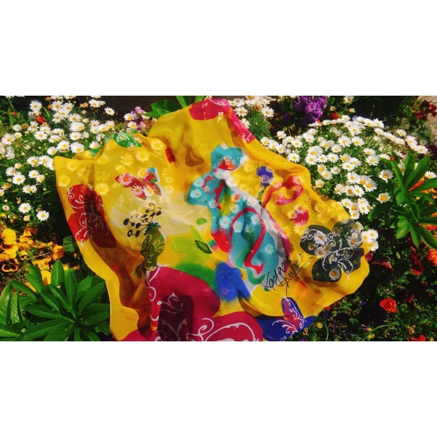 KAYANO USHIYAMA Ballettコラボ第3弾 Easter 大判シフォンスカーフ 正方形 90×90cm ご家庭で洗濯可 日本製|ballett|07